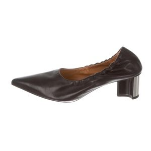 ROBERT CLERGERIE Leather Pointed-Toe Pumps 9.5